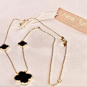 Alexa & Tori Jewelry - Alexa & Tori Black Clover & Crystal Necklace NWT